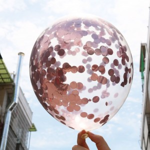1Pc Sequins Inflatable Balloon Party Decoration - Rose Gold
