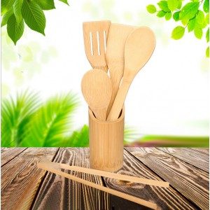 Bamboo High Quality Five Pieces Kitchenware Set - Brown