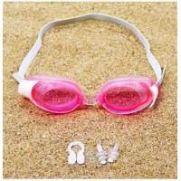 Kids Swimming Goggles With Nose Clip Earplugs - Pink
