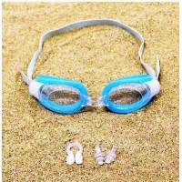 Kids Swimming Goggles With Nose Clip Earplugs - Sky Blue