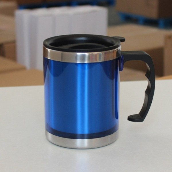 Stainless Steel Travel Mug with Sipper Lid 350ml - Blue