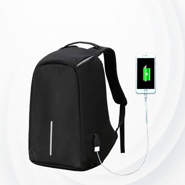 Anti Theft Backpack With Usb Charging Port - Black
