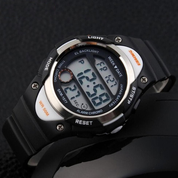 Digital Clear Display Silicon Strap Sports Kids Watch-Black
