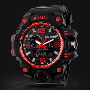 Waterproof Analogue And Digital Sports Watch - Black