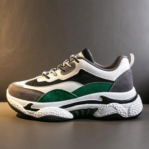 Contrast Thick Bottom Shallow Mouth Sports Shoes - Green