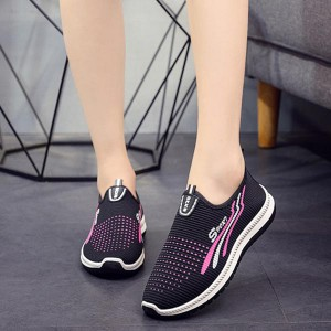 Non-slip Soft Bottom Breathable Mesh Canvas Shoes - Black