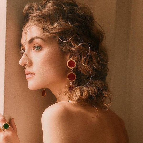 Three Layered Round Party Wear Earrings