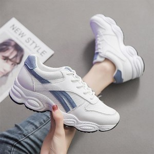 Cross Straps Thick Sole Round Head Sneakers - Blue Strips