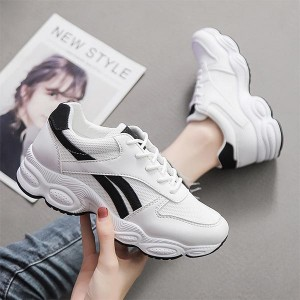 Cross Straps Thick Sole Round Head Sneakers - Black Strips