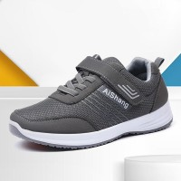 Laced Velcro Closure Breathable Men Sneakers - Gray