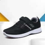 Laced Velcro Closure Breathable Men Sneakers - Black
