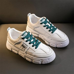 Thick Bottom Shallow Mouth Casual Sports Shoes - Green Lace
