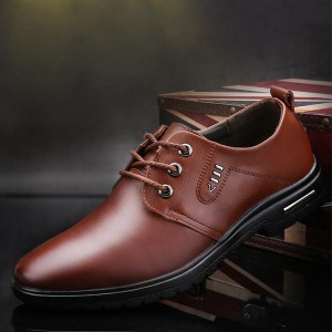 Formal Wear Lace-up Round Toe Man Office Shoes - Brown