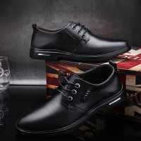 Formal Wear Lace-up Round Toe Man Office Shoes - Black