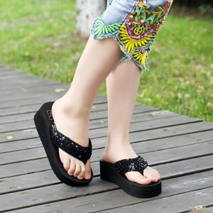 Thick sole sequins Decorated Casual Female Sandals - Black