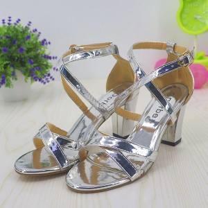 Strap Buckled High Heels Party Wear Dorbe Sandals - Silver