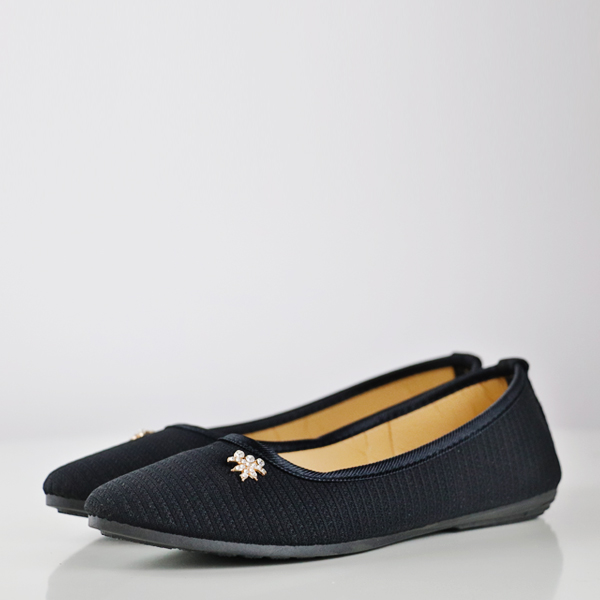 Striped Texture Crystal Patch Flat Shoes - Black