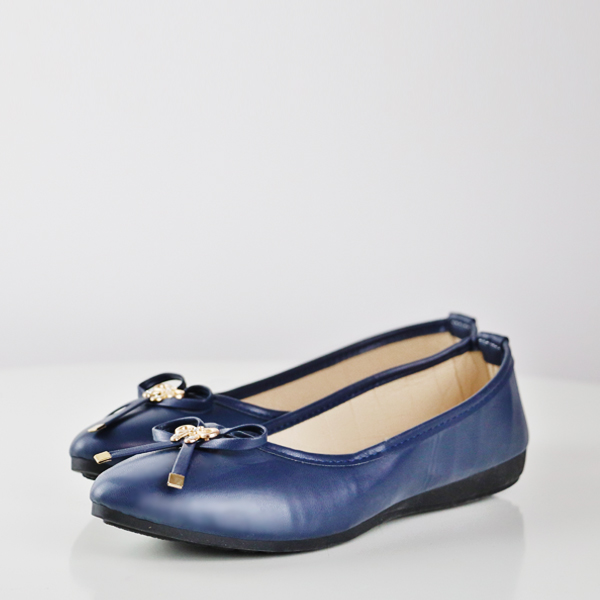 Bow Patched Formal Flat Office Wear Shoes - Blue