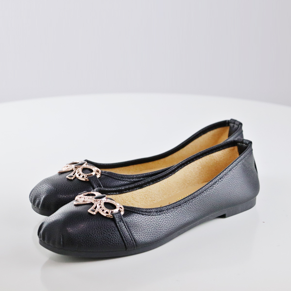Leather Texture Flat Office Work Shoes - Black