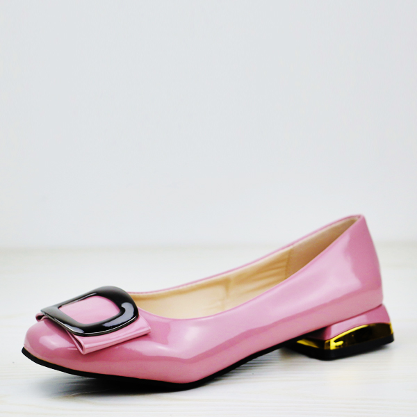 Shiny Low Square Heel Solid Color Flat Shoes - Pink