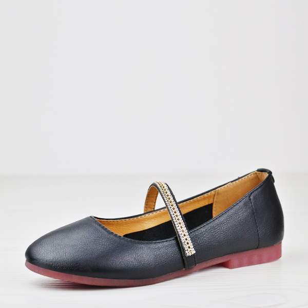 Rubber Soft Sole Office Wear Crystal Shoes - Black