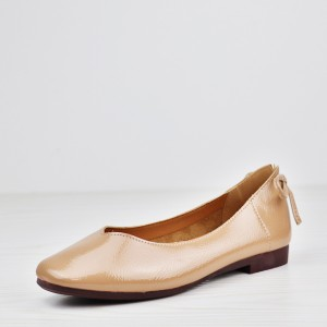 Shiny Flat Bottom Office Wear Shoes - Apricot