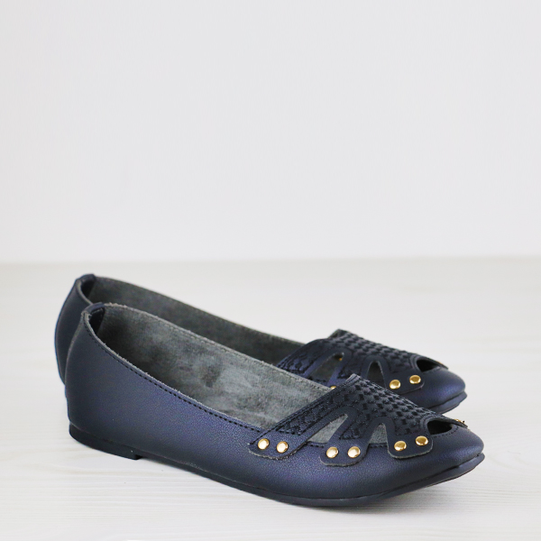 Rivets Decorated Hollow Dorbe Brand Flat Shoes - Black