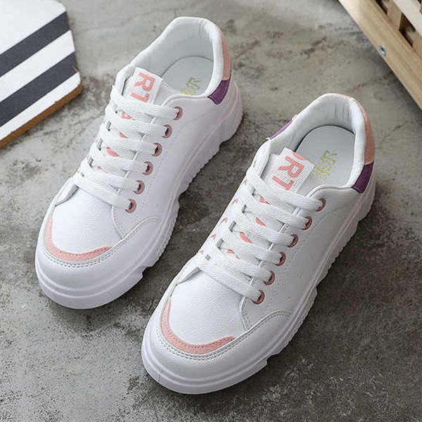 Sports Wear Laced Up Casual Shoes - White