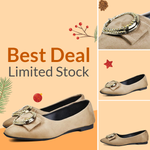 Ring Patch Flat Wear Formal Shoes - Khaki