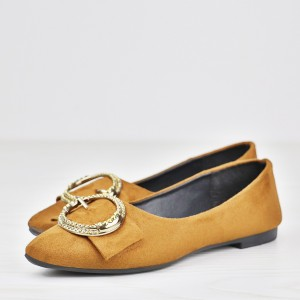 Ring Patch Flat Wear Formal Shoes - Brown