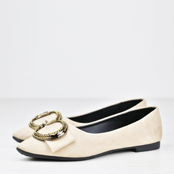 Ring Patch Flat Wear Formal Shoes - Cream White