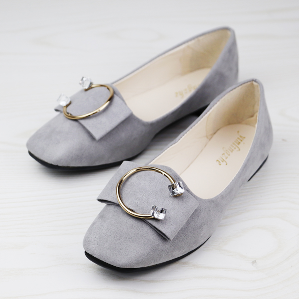 Square Crystal Suede Flat Party Wear Shoes - Grey