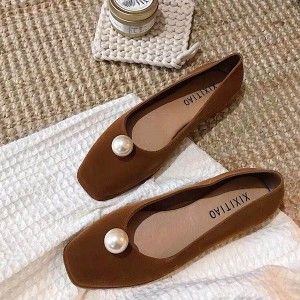 Pearl Patch Flat Velvet Party Wear Shoes - Brown