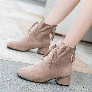 Suede Sole Synthetic Leather Lace Closure Boots - Beige
