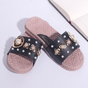 Pearl Decorative Floral Flat Wear Female Sandal - Black
