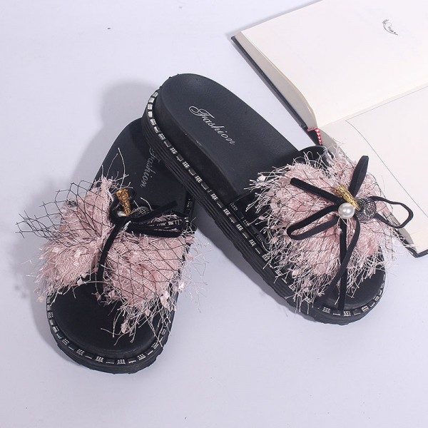 Net Woven Pearl Soft Sole Female Party Wear Sandals - Pink