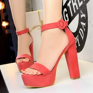 High Heel Thick Bottom Designers Wear Sandals - Red