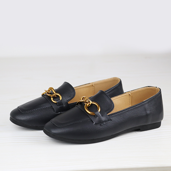 Formal Office Wear Flat Bottom Shoes - Black