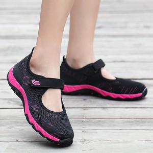 Textured Loop Closure Sports Shoes - Hot Pink