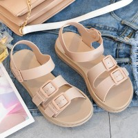 Buckle Patched Plastic Flat Summer Wear Sandals - Apricot