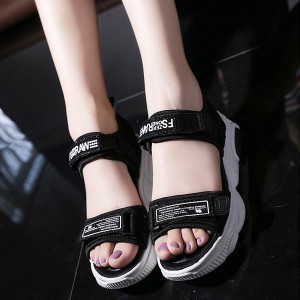 Velcro Closure Non-slip Thick Bottom Women Sandals - Black