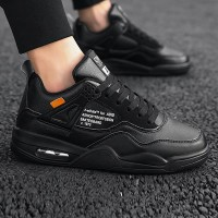 Pu Leather Rubber Sole Casual Running Sports Shoes - Black