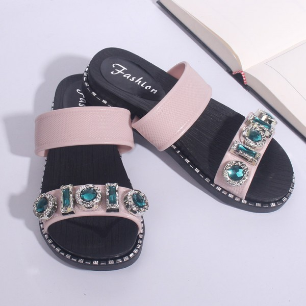 Rhinestones Patched Slip Over Party Wear Sandals - Pink