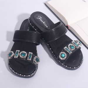 Rhinestones Patched Slip Over Party Wear Sandals - Black