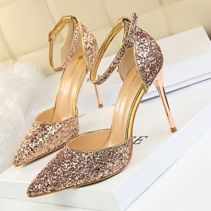 Crystal Sequins Glittered High Heel Sandals - Champagne