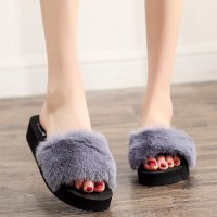 Cotton Plush Surface Soft Bottom Women Slipper - Gray