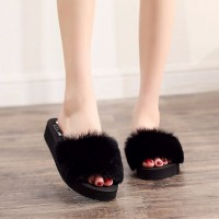 Cotton Plush Surface Soft Bottom Women Slipper - Black