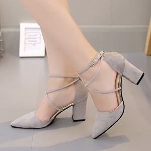 Double Straps Over Buckle Closure High Heels Sandals - Gray