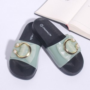 Pearl Soft Rubber Closure Soft Sole Female Sandals - Green