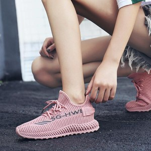 Laced Up Breathable Woven Straps Women Sneakers - Pink